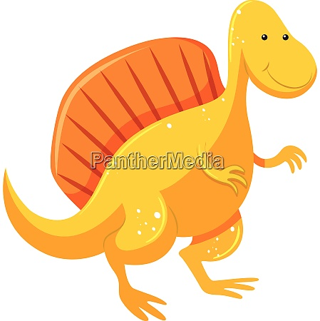 a yellow color dinosaur and orange