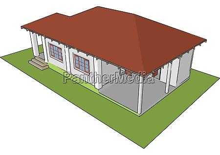 prefabricated house illustration vector on white