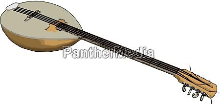 old guitar illustration vector on white