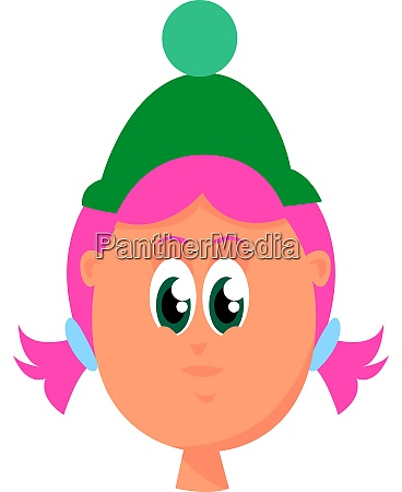 girl with pink hair illustration vector
