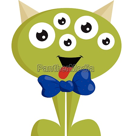 green monster with bow vector or