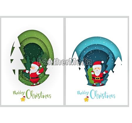 satz von winter weihnachtsgruesse in papier