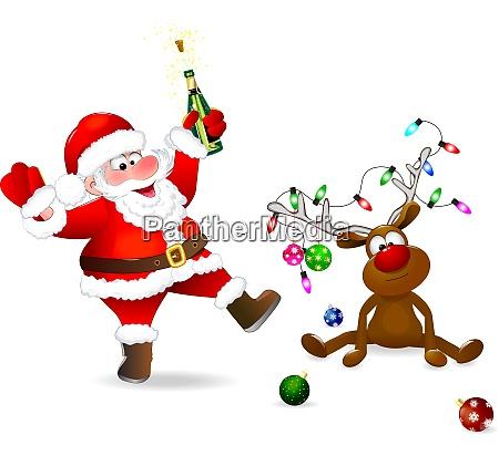 froehlicher weihnachtsmann und weihnachtshirsch