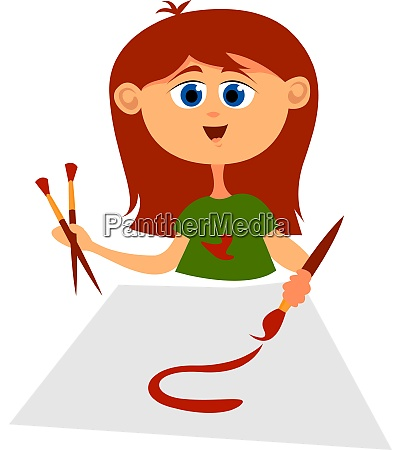 girl with red hair illustration vector