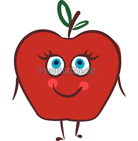 happy apple vector or color illustration
