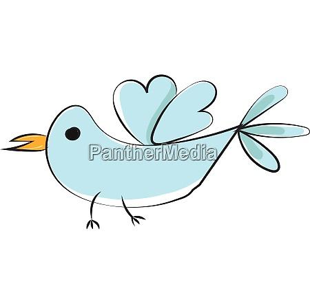kleiner blauer vogel mit gelbem schnabel