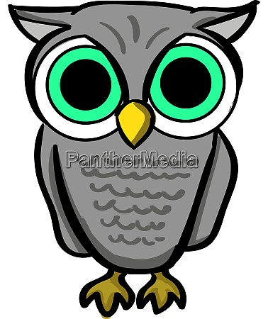 owl with green eyes illustration vector