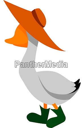 goose with hat illustration vector on