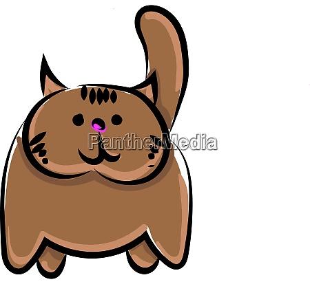 brown cat illustration vector on white