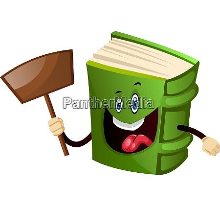 green book holding a shovel illustration