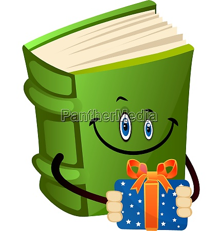 green book holding a present illustration