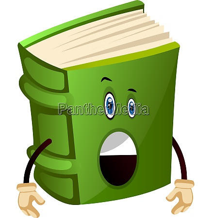 green book is surprised illustration vector
