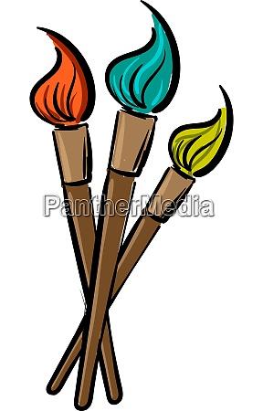 a 3 wooden paint brush vector