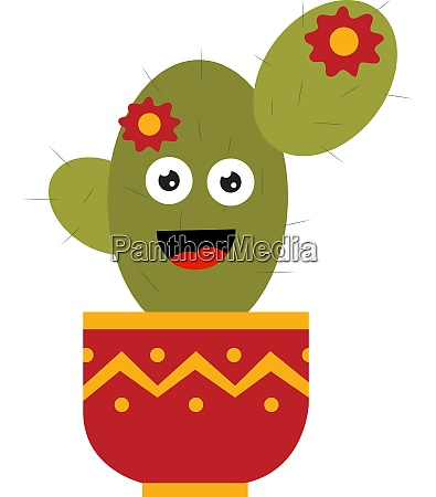 a cactus with a flower vector