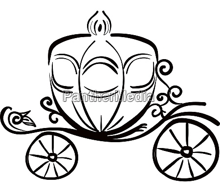 a horse carriage silhouette vector or