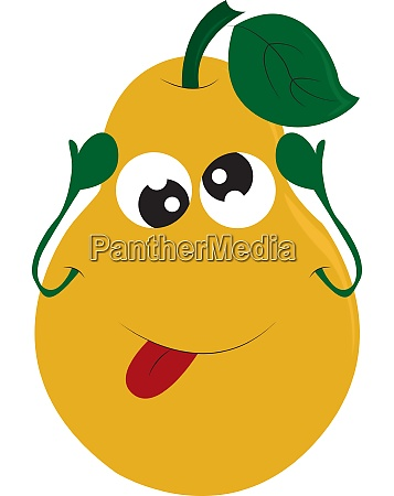 a yellow pear with sparkling eyes