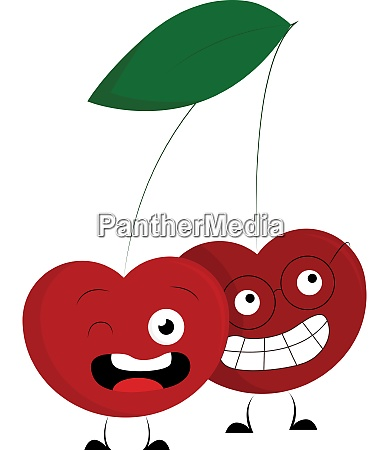 two red crazy cherries vector or