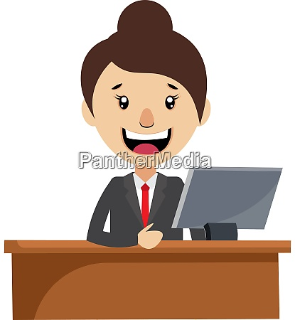 woman working at the desk illustration