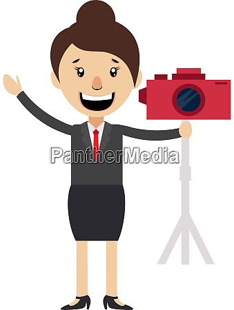 woman with red camera illustration vector