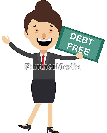 woman with debt free sign illustration