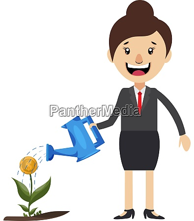 woman watering plant illustration vector on