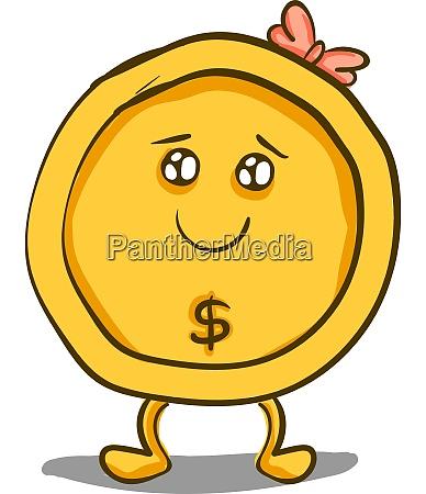 a cute girl gold coin vector