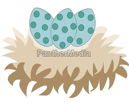 a 3 green easter eggs vector