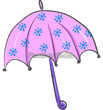an umbrella with blue flowers vector
