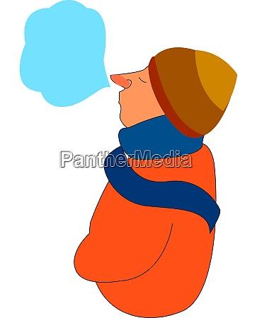 a frozen boy in an orange