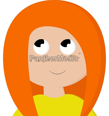 a girl with orange hair vector