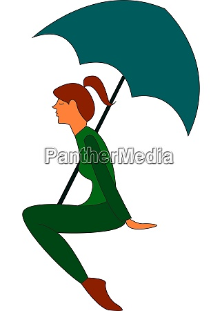 a girl with a green umbrella