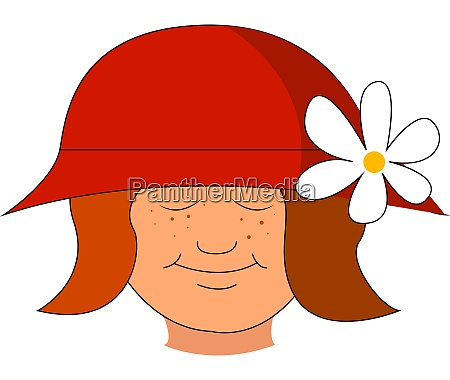 a girl with red hat and