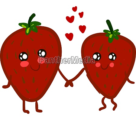 a red strawberries holding hands vector