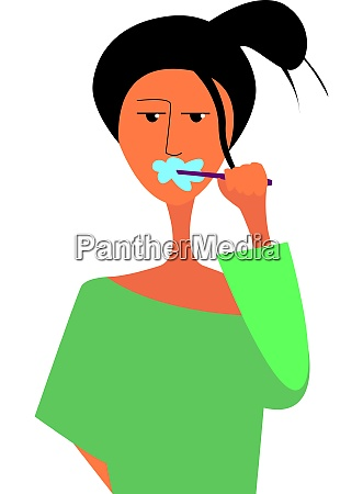 a girl with a tooth brush