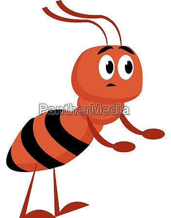 red ant illustration vector on white