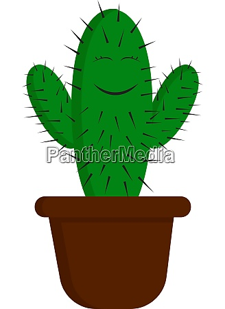 a happy green cactus vector or