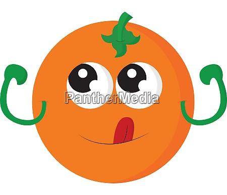 an orange with cute eyes vector