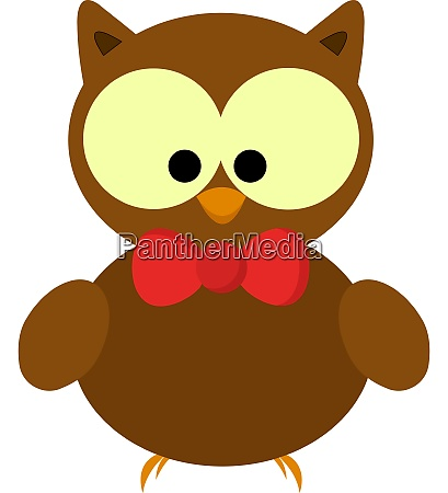 an owl with red bow vector