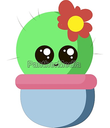 cute little cactus with flower illustration