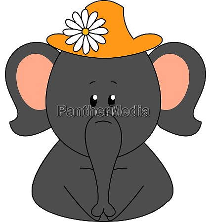 elephant wearing a hat with flower