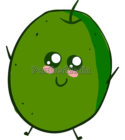 cute green olive with eyes illustration
