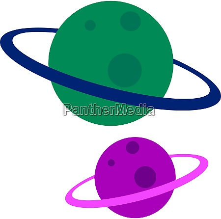 green and purple planet illustration vector