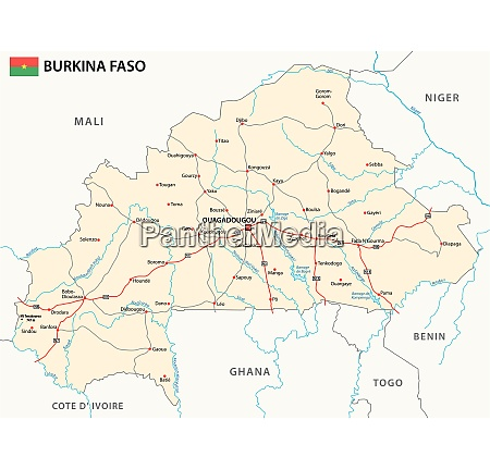 strassenkarte des westafrikanischen staates burkina faso