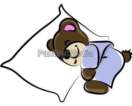 sleeping bear illustration vector on white