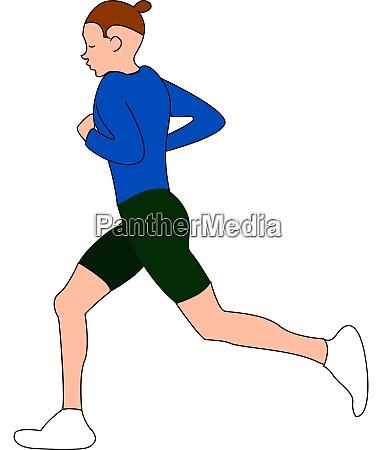man running in blue shirt illustration
