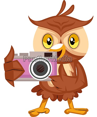 owl with camera illustration vector on
