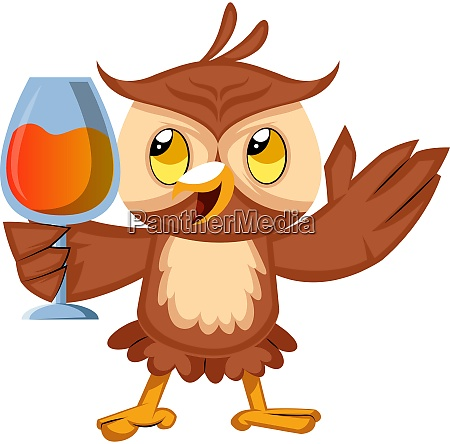 owl with drink illustration vector on