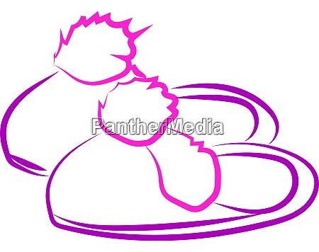 purple hosue slippers illustration vector on