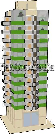 hohes gruenes gebaeude illustration vektor auf
