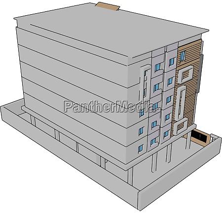 white residential building illustration vector on